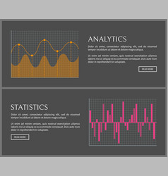 Analytics and statistics data on internet pages vector