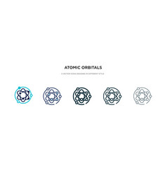 Atomic orbitals icon in different style two vector