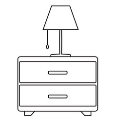 bedside drawer with lamp icon vector image
