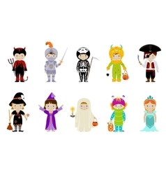 Big set of kids in halloween costumes vector image