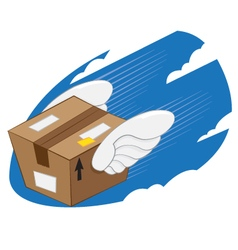Bird wings package express delivery vector