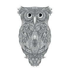 Black hand drawn owl tattoo vector