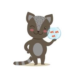 Black Little Girly Cute Kitten Holding Aquarium vector image