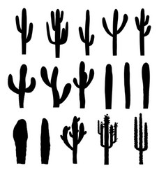 black silhouettes saguaro cactus vector image