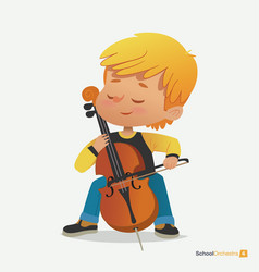 blond boy sit on chair play contrabass with joy vector image