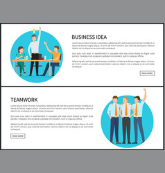 business idea and team work promotionl web pages vector image