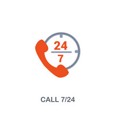 call 7 24 icon premium two colors style design vector image