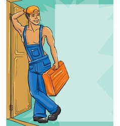 Cartoon character plumber in a uniform vector