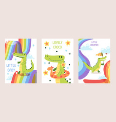 cartoon funny crocodiles set banners cards vector image
