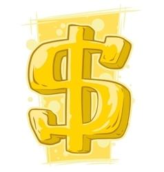 Cartoon gold symbol of dollar vector
