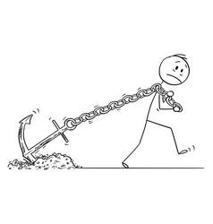 cartoon man or businessman pulling or dragging vector image
