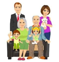 Cheerful family at home sitting on sofa vector