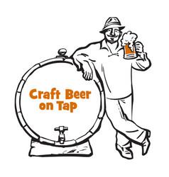 cheerful man with beer mug and sausage hand drawn vector image