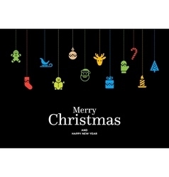 Christmas card with set of icons and vector image