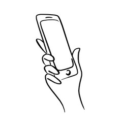 close-up right hand using mobile phone vector image