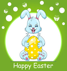 colorful happy easter greeting card with rabbit vector image