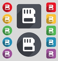 compact memory card icon sign A set of 12 colored vector image