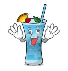 Crazy blue hawaii mascot cartoon vector