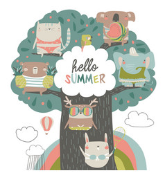 cute animals sit on summer tree on white vector image