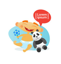 Cute baby boy happy embracing panda bear toy vector
