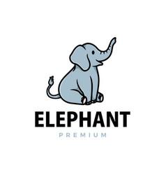 cute elephant cartoon logo icon vector image