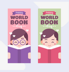 cute kids reading a book boy and girl world book vector image