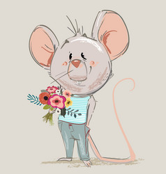cute little mouse with floral wreath vector image
