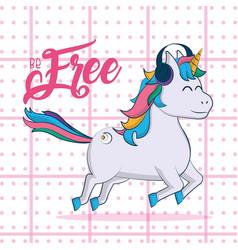Cute unicorn fantasy cartoon vector