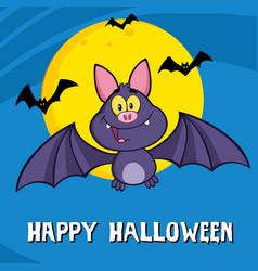 cute vampire bat cartoon character flying vector image