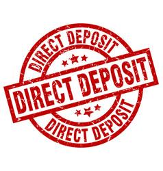 direct deposit round red grunge stamp vector image
