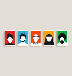 diverse culture people portrait set vector image