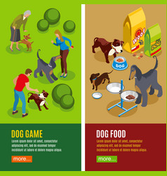 Dog vertical isometric banners vector