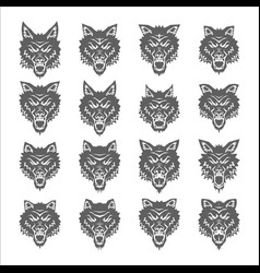 Dog wolf coyote heads silhouette set vector