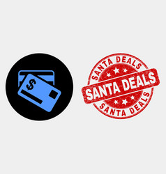 dollar bank cards icon and distress santa vector image