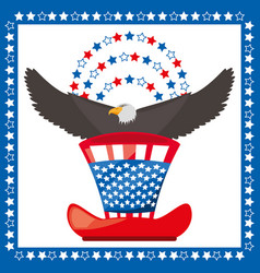 eagle and american hat patriotic symbol vector image