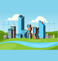 eco city green concept with urban landscape save vector image