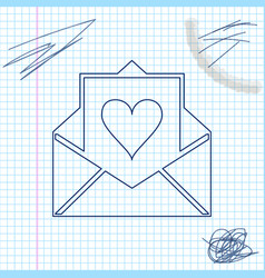 envelope with valentine heart line sketch icon vector image