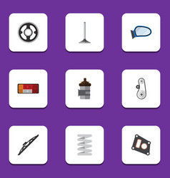 Flat icon component set of car segment cambelt vector