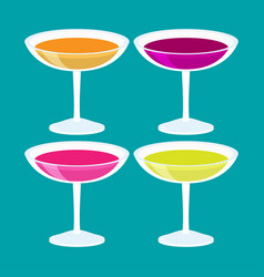 flat isometric cocktail set vector image