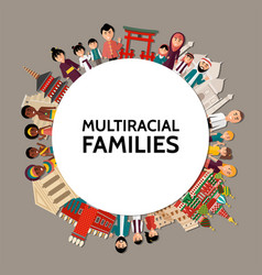 flat multiracial people round concept vector image