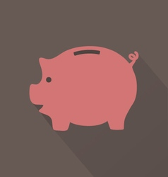 Flat Pink Piggy Bank Icon On Brown Background vector