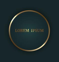 gold shiny circle frame on dark luxury background vector image