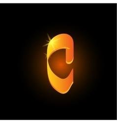 Golden arabic style letter c Shiny latin alphabet vector