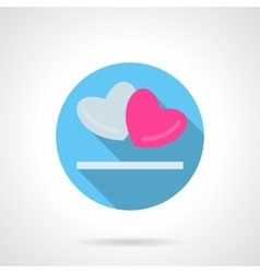 Gray and pink hearts round icon vector