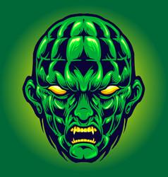 green head angry monster halloween vector image