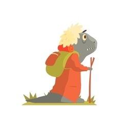 Grey Lizzard Monster With Backpack And Walking vector