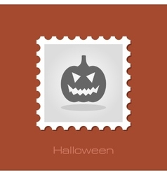 Halloween pumpkins stamp vector image