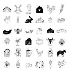 Hand drawn farm icon set in doodle style vector