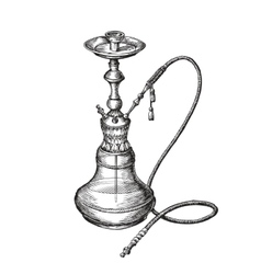 Hand-drawn vintage hookah sketch shisha vector