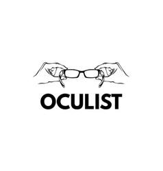 hands holding glasses eyeglasses icon oculist vector image